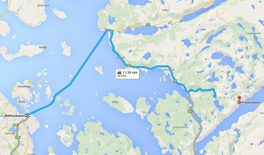 Hvordan komme til Preikestolen fra Stavanger